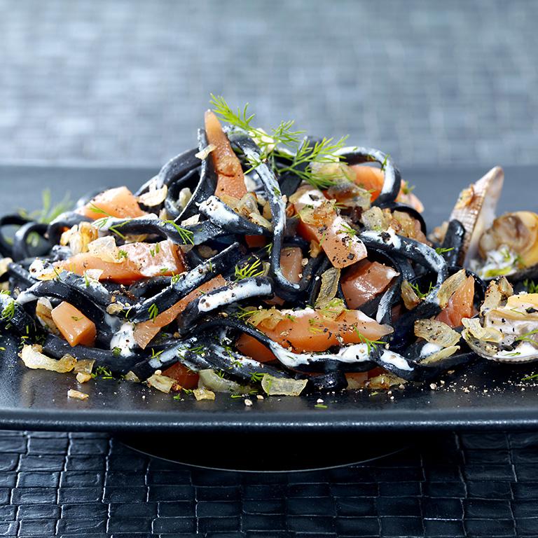 recette tagliatelles noires, palourdes