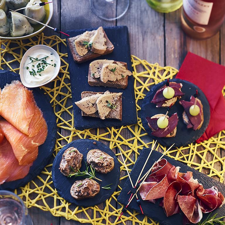 recette tapas de foie gras, jambon et saumon fumé