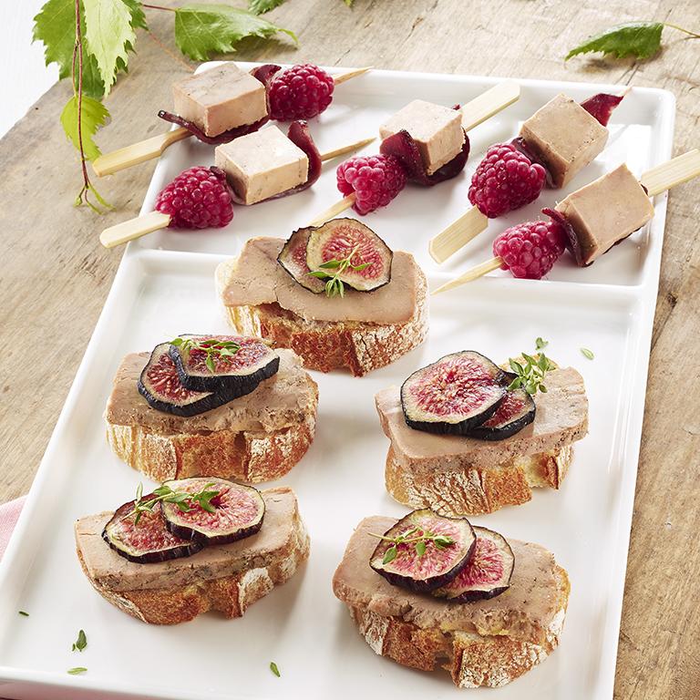 recette apéritif foie gras, figues et framboises