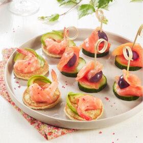 recette aperitif saumon fume blini concombre