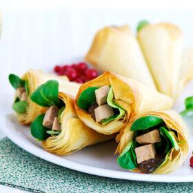 recette cornet croustillant au foie gras de rhubarbe