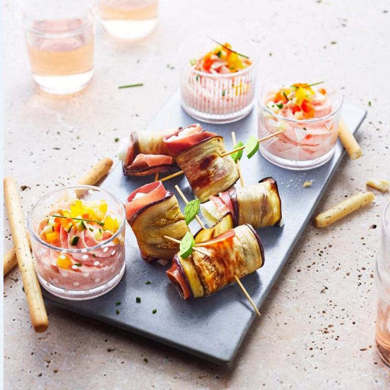 recette apéritif duo jambon et saumon