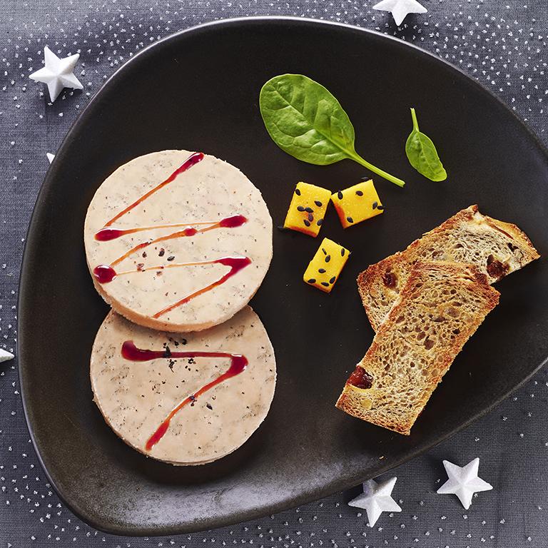 recette foie gras, mangue et sesame noir
