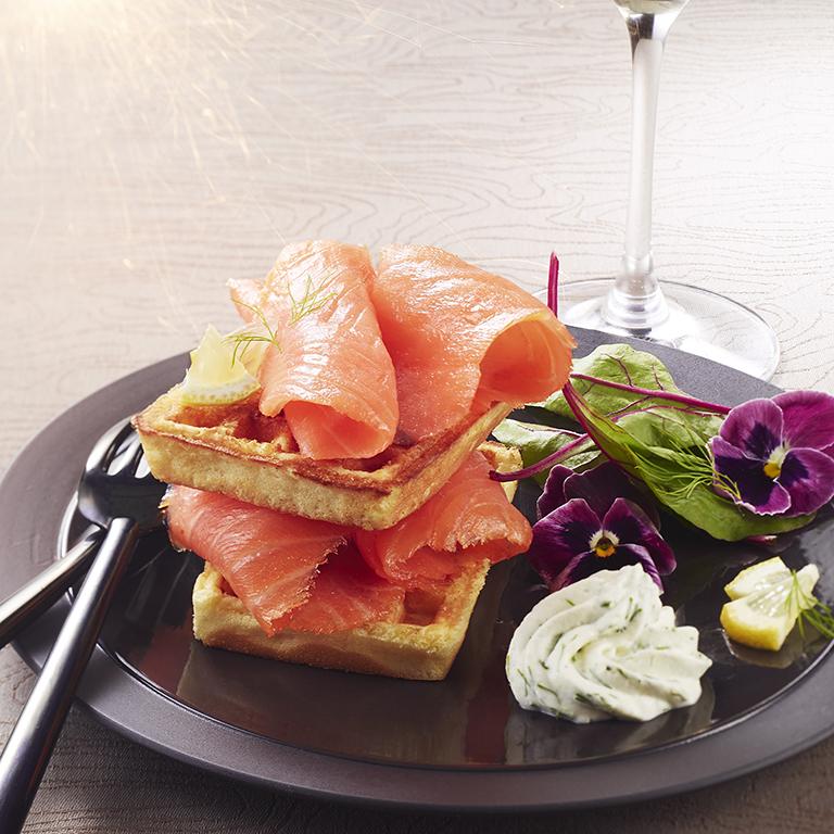 recette gaufre de saumon fumé, chantilly