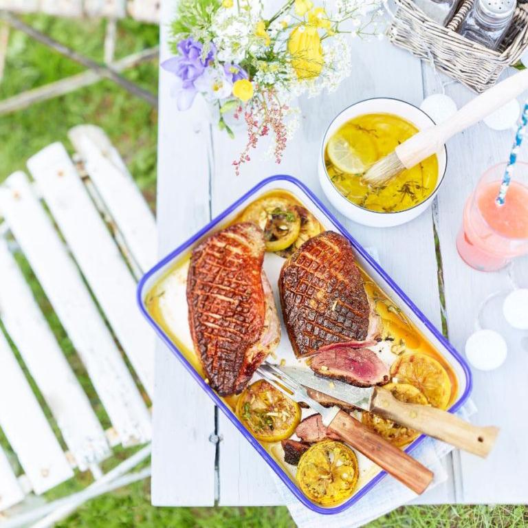 recette magret de canard au barbecue, thym citron gingembre