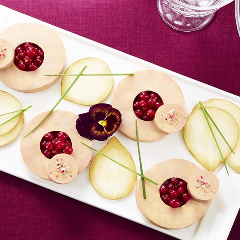plateau foie gras, poires et groseilles
