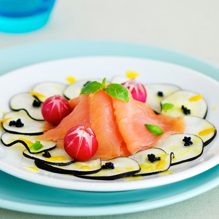 recette salade de radis et saumon fumé, réduction d'orange